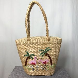 Vintage Straw Handbag with Flamingos and Palm Tree